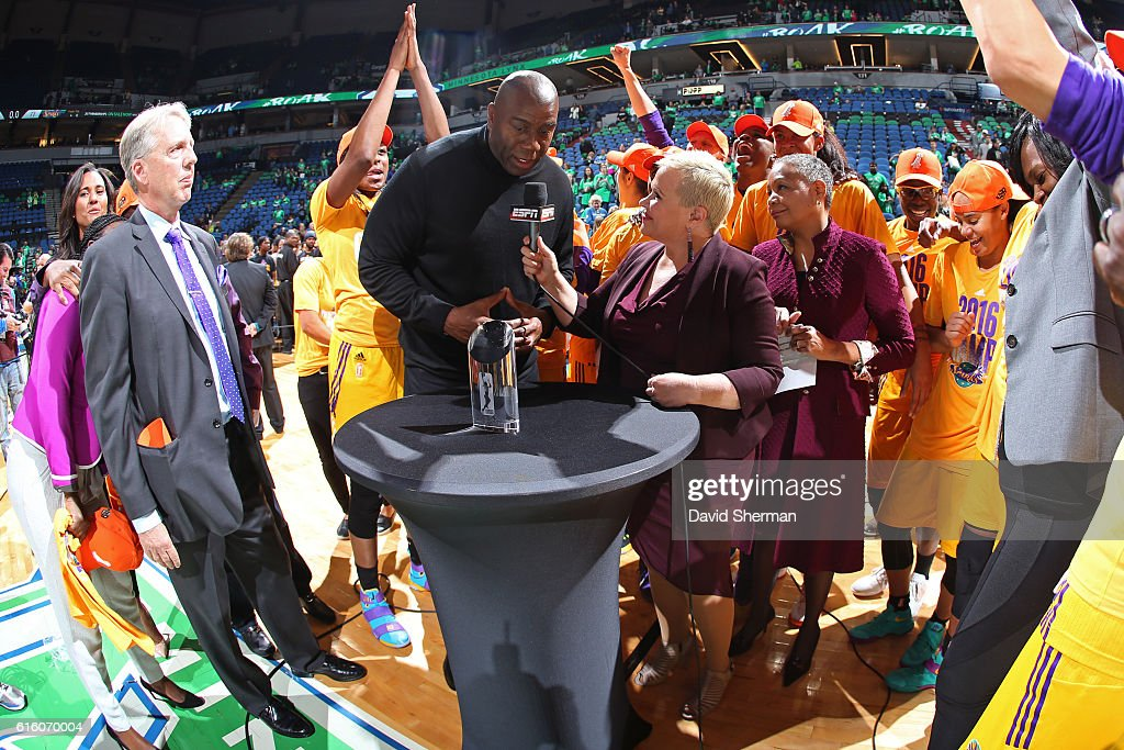 Reporter, Holly Rowe interviews NBA Legend, Magic Johnson after Game Five of the 2016 WNBA Finals against the Minnesota Lynx on October 20, 2016 at Target Center in Minneapolis, Minnesota.