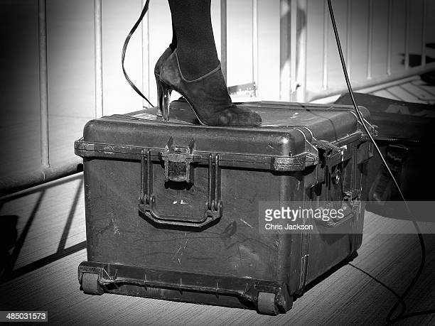 A reporter in heels stands on a peli case as she does a live report as Prince William Duke of Cambridge Prince George of Cambridge and Catherine...
