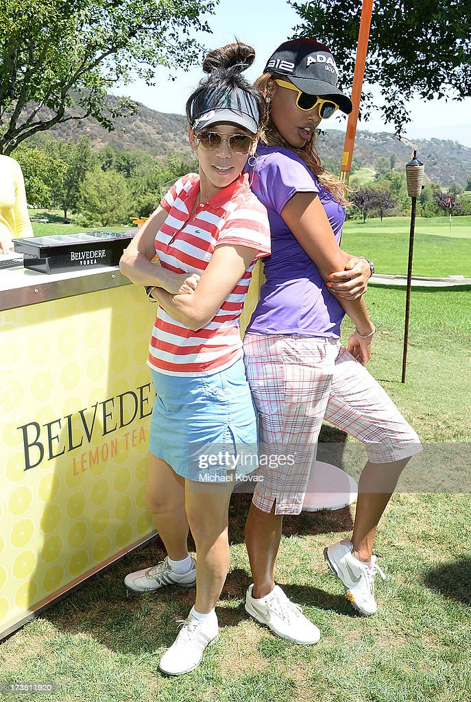 Reporter Jane Yamamoto (L) and actress K.D. Aubert attend The 4th annual Alex Thomas Celebrity Golf Classic presented by Belvedere at Mountain Gate Country Club on July 15, 2013 in Los Angeles, California.