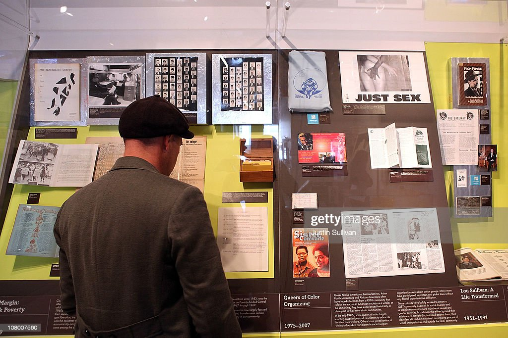 A reporter looks at a display of documents during the grand opening of the Gay, Lesbian, Bisexual and Transgender History Museum on January 12, 2011 in San Francisco, California. The country's first gay history museum opened in San Francisco's Castro district today and features hundreds of items including Harvey Milk's megaphone, documents, a collection of sex toys and multimedia presentaions.
