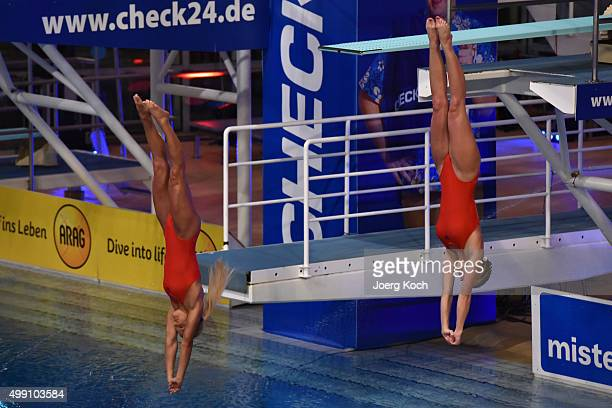 Reporter Nina Beeh and bodybuilder Sophia Thiel attend the TV show 'TV Total Turmspringen' on November 28 2015 in Munich Germany 'TV Total...