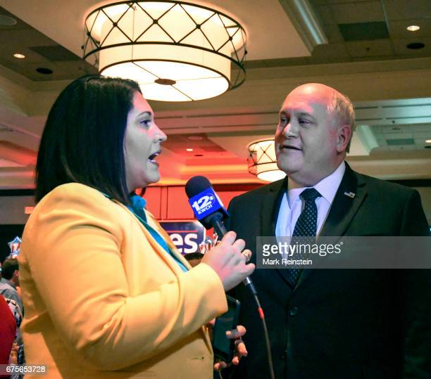 Reporter Pilar Pedraza from KWCHTV interviews American politician and Kansas State Treasurer Ron Estes who had just won a Congressional special...