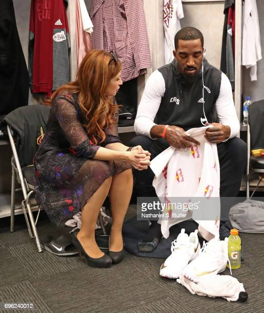 Reporter Rachel Nichols talks to JR Smith of the Cleveland Cavaliers in the locker rooom before Game Five of the 2017 NBA Finals on June 12 2017 at...