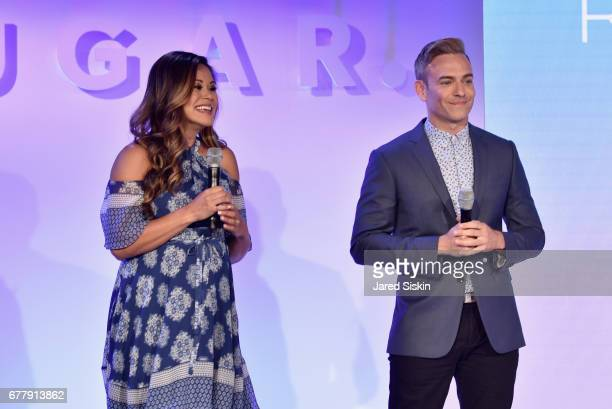 Reporter/associate producer Brandi Milloy and POPSUGAR reporter/producer Matthew Rodrigues speak on stage during the POPSUGAR 2017 Digital NewFront...