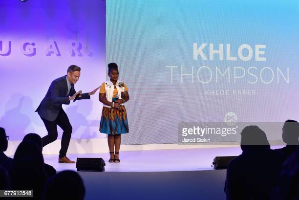 POPSUGAR reporter/producer Matthew Rodrigues and Khloe Thompson speak on stage during the POPSUGAR 2017 Digital NewFront at Industria Studios on May...