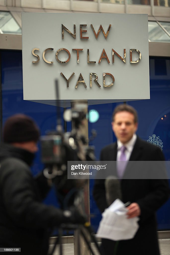 Reporters broadcast outside New Scotland Yard after a report into the sexual allegations of the late TV star Jimmy Savile was released on January 11, 2013 in London, England. The report by the Metropolitan police and NSPCC on Jimmy Savile gives details the scale of his sexual abuse of children from 1955 to 2009.