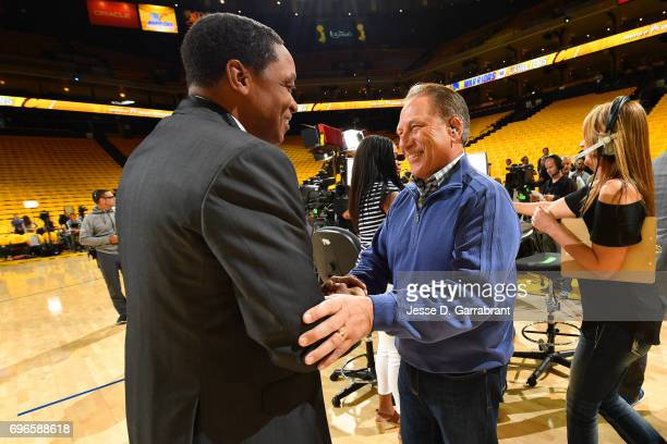 Reporters Isaiah Thomas talks with Michigan State's men's basketball head coach Tom Izzo before Game One of the 2017 NBA Finals between the Cleveland...