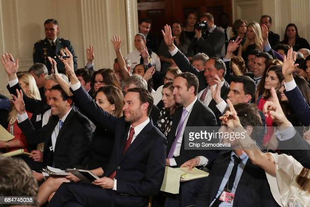 Image result for photos of press asking questions of trump