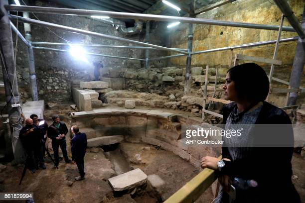 Reporters visit the recently discovered ancient roman theatre from the second sanctuary that was found by the Israeli Antiquity Authority at the foot...