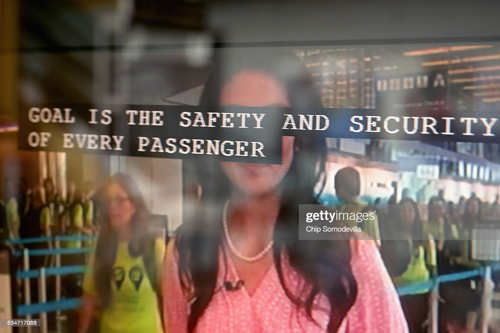 A reporter's words are seen using closed captioning on a television screen inside Ronald Reagan National Airport May 27, 2016 in Arlington, VA. According to AAA, 'more than 38 million Americans will travel this Memorial Day weekend. That is the second-highest Memorial Day travel volume on record and the most since 2005. Spurred by the lowest gas prices in more than a decade, about 700,000 more people will travel compared to last year.'