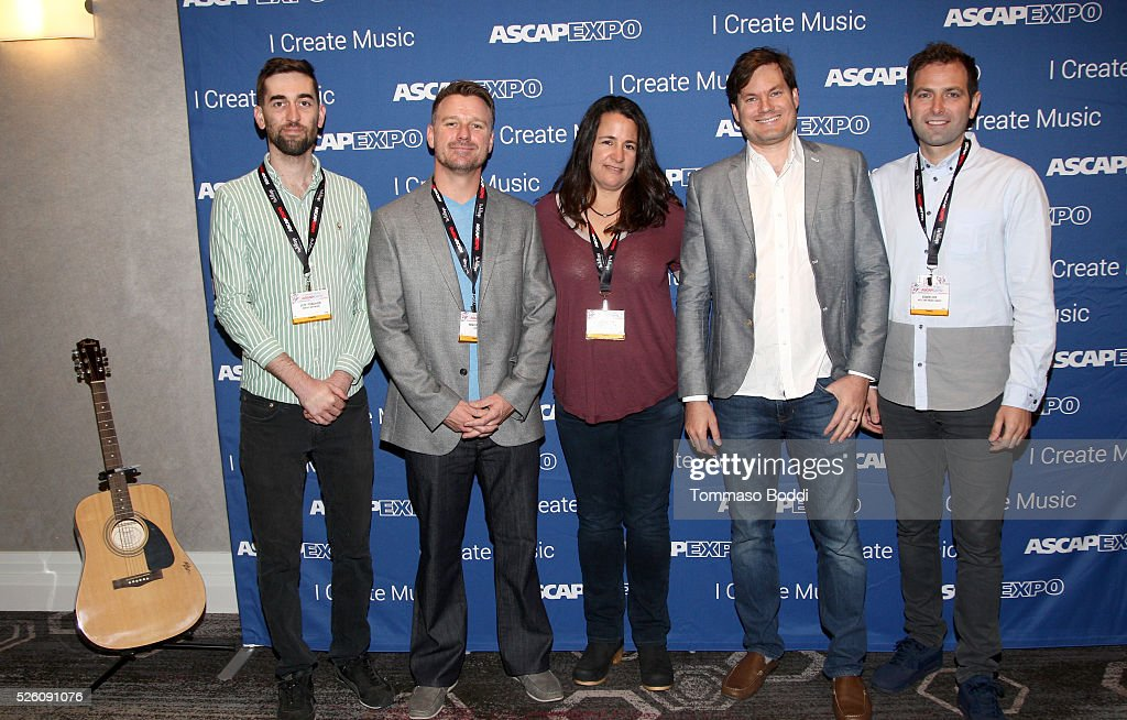 Repost Network Founder/CEO Jeff Ponchick, AdRev President <a gi-track='captionPersonalityLinkClicked' href=/galleries/search?phrase=Noah+Becker&family=editorial&specificpeople=2316372 ng-click='$event.stopPropagation()'>Noah Becker</a>, North Music Group Owner, Music Publisher & Music Supervisor Abby North, DashGo Founder/CEO Ben Patterson and West One Music Group Managing & Creative Director/President Edwin Cox pose with a #StandWithSongwriters guitar, which will be presented in May to members of Congress to urge them to support reform of outdated music licensing laws, during the 2016 ASCAP 'I Create Music' EXPO on April 29, 2016 in Los Angeles, California.