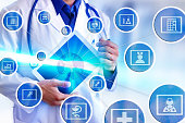 Representation communication fields of medicine and globalization online with doctor picking up white tablet