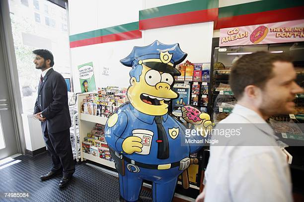 A representation of 'Chief Wiggum' from the longrunning television cartoon show 'The Simpsons' is on display at the 711 store at 345 W 42nd Street...