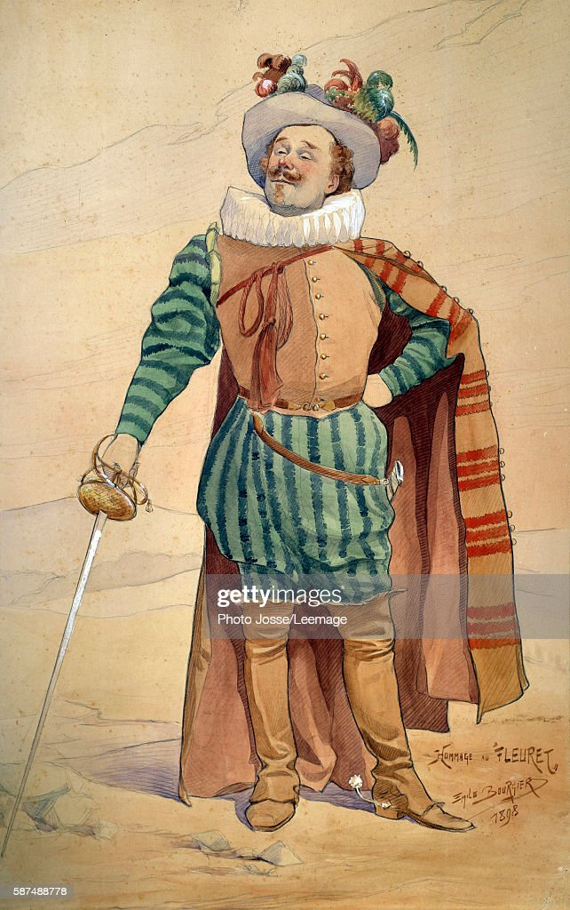 Representation of Constant Coquelin in the costume of Cyrano de Bergerac in which he created the role in 1897 drawing by Emile Bourgier Jacques...