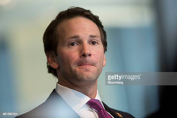 Representative Aaron Schock a Republican from Illinois pauses while speaking during an interview in Washington DC US on Thursday Jan 9 2014...