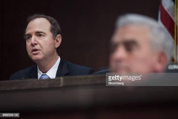 Representative Adam Schiff a Democrat from California and ranking member of the House Intelligence Committee speaks during a House Intelligence...