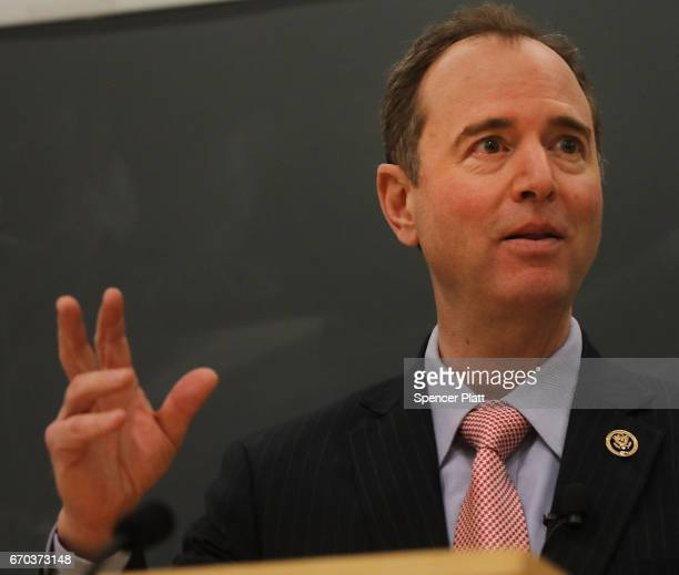 Representative Adam Schiff DemocratCalifornia speaks at Columbia Law School on April 19 2017 in New York City Schiff discussed cyber threats to the...