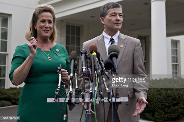 Representative Ann Wagner a Republican from Missouri left speaks as Representative Jeb Hensarling a Republican from Texas and chairman of the House...