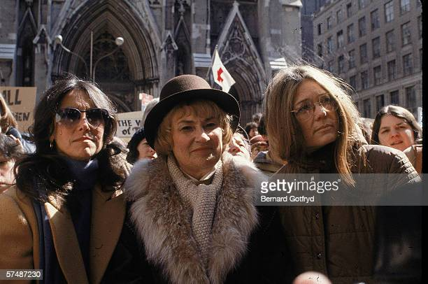 US Representative Bella Abzug and feminist leader Gloria Steinem outside St Patrick's Cathedral at a demonstration staged by the Reproductive Rights...