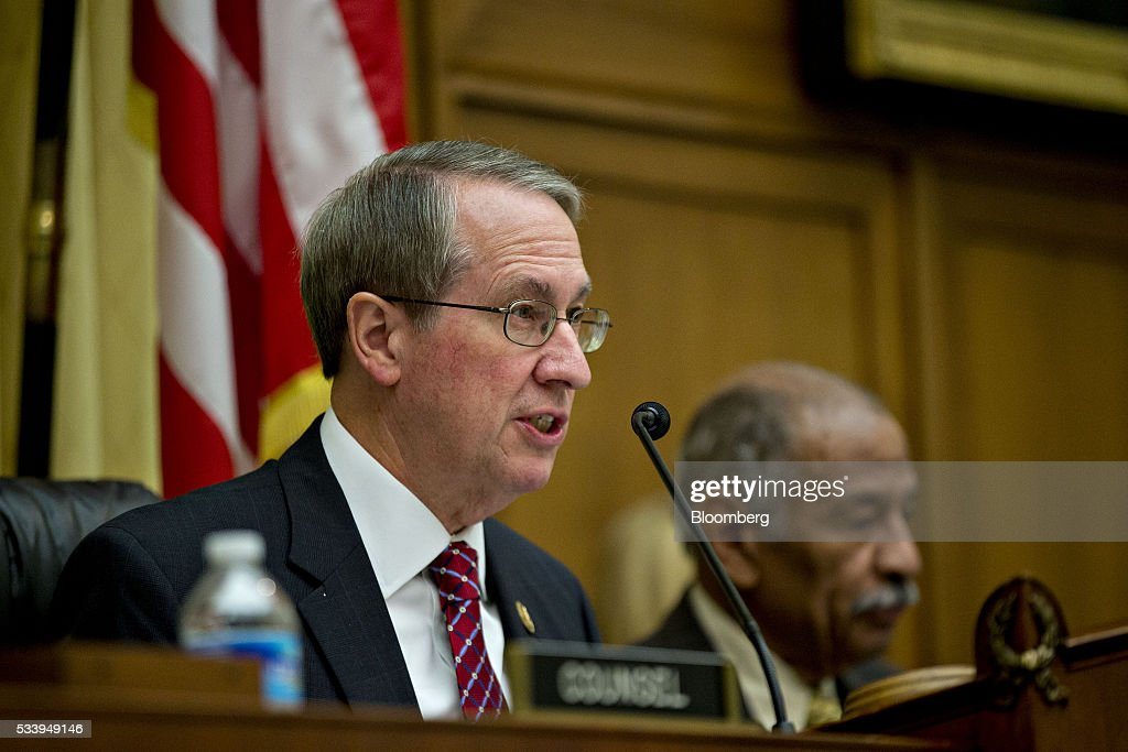 Representative Bob Goodlatte, a Republican from Virginia and chairman of the House Judiciary Committee, left, makes an opening statement as Representative <a gi-track='captionPersonalityLinkClicked' href=/galleries/search?phrase=John+Conyers&family=editorial&specificpeople=217823 ng-click='$event.stopPropagation()'>John Conyers</a>, a Democrat from Michigan and ranking member of the House Judiciary Committee, listens during a House Judiciary Committee hearing in Washington, D.C., U.S., on Tuesday, May 24, 2016. The hearing is part of some Republican lawmakers' push to impeach International Revenue Service (IRS) Commissioner John Koskinen for allegedly failing to cooperate with an investigation after the IRS reportedly targeted conservative groups applying for tax-exempt status