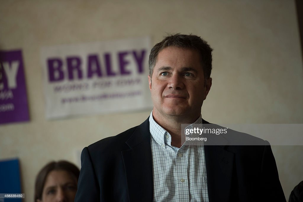 Representative Bruce Braley, the Democratic nominee for the U.S. Senate, listens during his introduction during a campaign stop in Fort Madison, Iowa, U.S., on Monday, Nov. 3, 2014. Braley and State Senator Joni Ernst, the Republican nominee, are tied at 47 percent in the Iowa Senate race, according to a Quinnipiac University poll of likely voters taken between Oct. 28 and Nov. 2. Photographer: Daniel Acker/Bloomberg via Getty Images