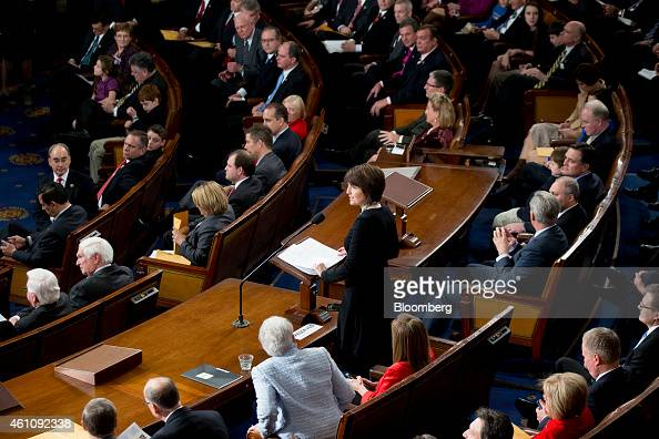 Representative Cathy McMorris Rodgers a Republican from Washington center speaks during the first session of the 114th Congress in the House Chamber...