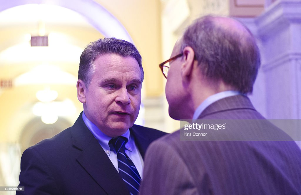 Representative Chris Smith and Rep Steve Cohen speak during the Alzheimer's Association Evening with Glen Campbell at The Library of Congress on May...