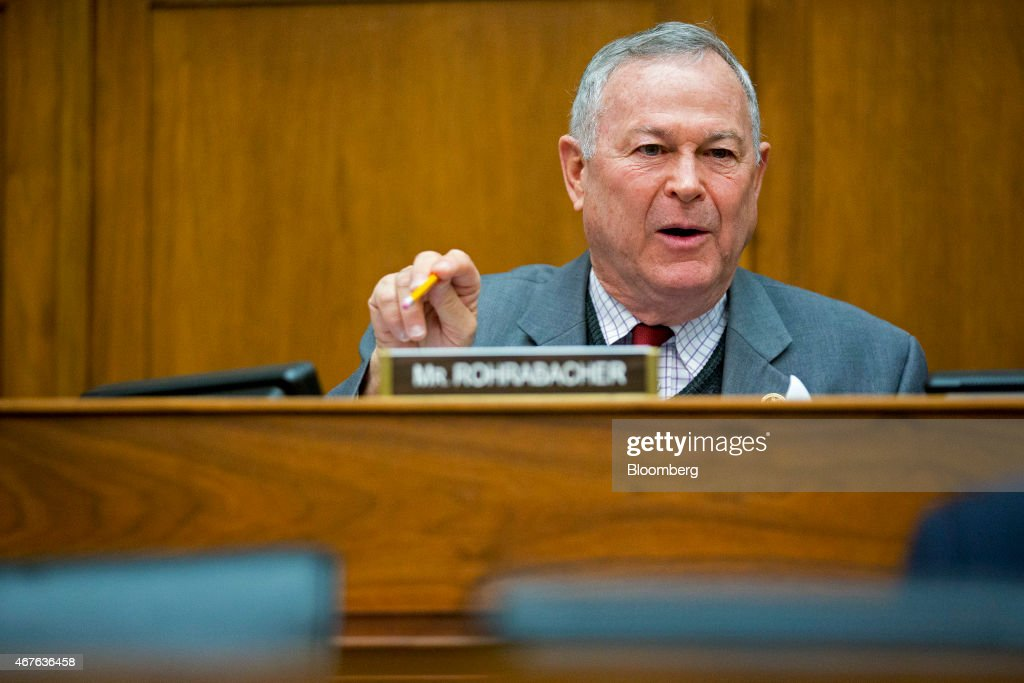 Representative <a gi-track='captionPersonalityLinkClicked' href=/galleries/search?phrase=Dana+Rohrabacher&family=editorial&specificpeople=2337249 ng-click='$event.stopPropagation()'>Dana Rohrabacher</a>, a Republican from California, questions Retired General John Allen, the special presidential envoy for the global coalition against Islamic State, not pictured, in Washington, D.C., U.S., on Thursday, March 26, 2015. The U.S. and allies began airstrikes on the Iraqi city of Tikrit, supporting Iranian-backed Shiite militias seeking to expel Islamic State fighters from the area. Asked whether Iran could end up controlling Iraq, Allen said, 'I don't think that's going to be the case. In the end, Iraq is an Arab country.' Iranians, he said, 'are a different people.' Photographer: Andrew Harrer/Bloomberg via Getty Images