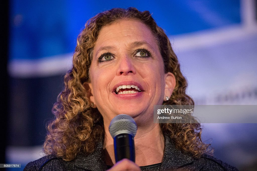 U.S. Representative <a gi-track='captionPersonalityLinkClicked' href=/galleries/search?phrase=Debbie+Wasserman+Schultz&family=editorial&specificpeople=2528330 ng-click='$event.stopPropagation()'>Debbie Wasserman Schultz</a> (D-FL 23rd District), who is also the Chair of the Democratic National Committee (DNC) speaks at the 'First in the South' Dinner prior to various Democratic presidential hopefuls on January 16, 2016 in Charleston, South Carolina. The democratic presidential hopefuls are town campaigning before tomorrow night's democratic presidential debate.