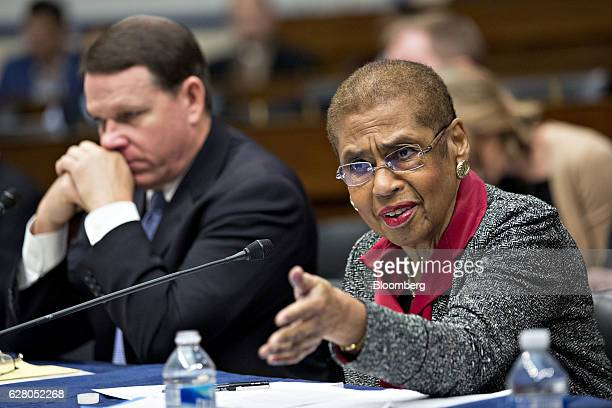 Representative Eleanor Holmes Norton a Democrat from the District of Columbia right speaks as Representative Sam Graves a Republican from Missouri...