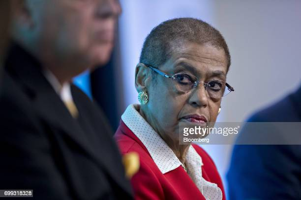 Representative Eleanor Holmes Norton a Democrat from the District of Columbia listens during a panel discussion at a Bloomberg Government...