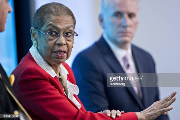 Representative Eleanor Holmes Norton a Democrat from the District of Columbia speaks during a panel discussion at a Bloomberg Government...