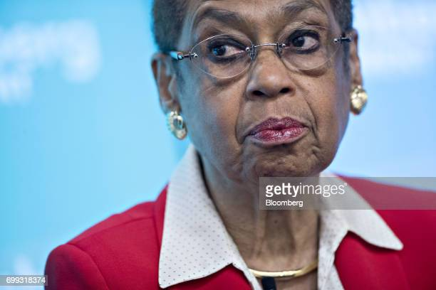 Representative Eleanor Holmes Norton a Democrat from the District of Columbia pauses while speaking during a panel discussion at a Bloomberg...