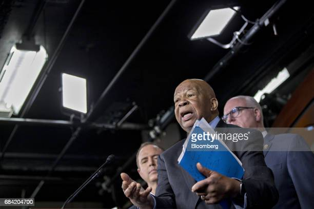 Representative Elijah Cummings a Democrat from Maryland speaks as Representative Joe Crowley a Democrat from New York and chairman of the House...