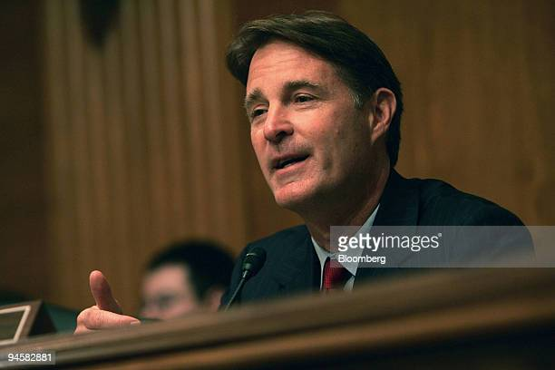 Representative Evan Bayh makes a statement at a hearing of the US Senate Committee on Banking Housing and Urban Affairs Subcommittee on Security and...