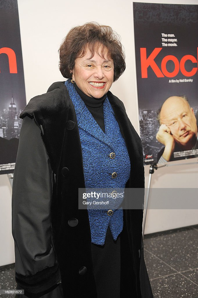 S Representative for New York's 17th congressional district Nita Lowey attends the 'Koch' New York Premiere at MOMA on January 29 2013 in New York...