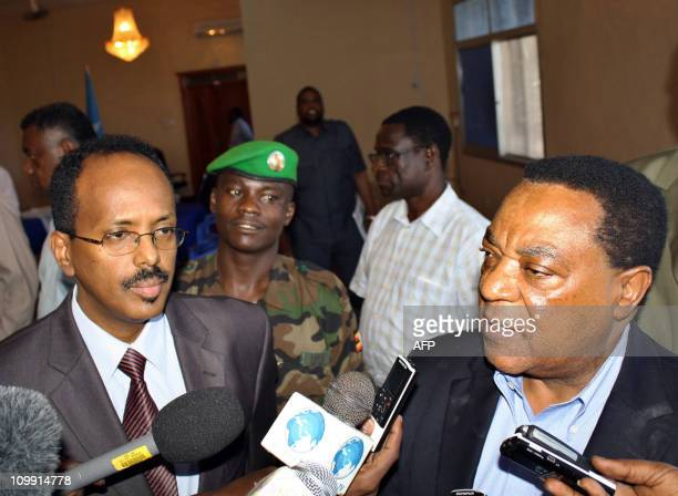 UN representative for Somalia Augustin Mahiga speaks with journalists on January 4 2011 at Somalia's presidential house in Mogadishu after meeting...