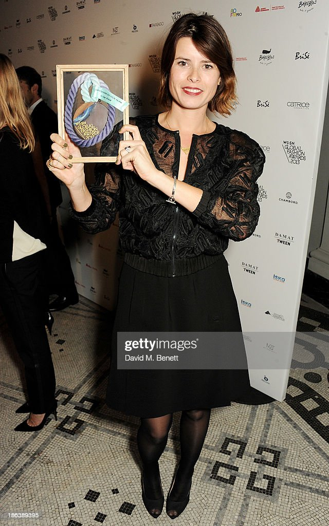 A representative from G-Star RAW, winner of the iSKO Denim Design Team, poses backstage at The WGSN Global Fashion Awards at the Victoria & Albert Museum on October 30, 2013 in London, England.