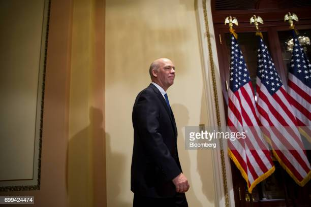 Representative Greg Gianforte a Republican from Montana arrives to a swearing in ceremony in Washington DC US on Wednesday June 21 2017 Gianforte's...
