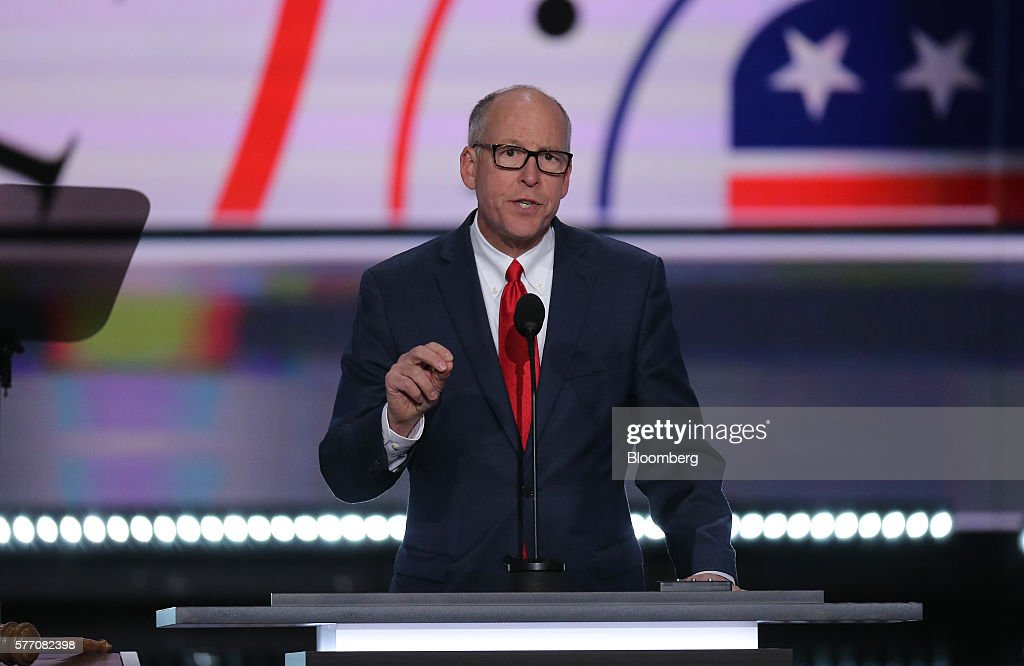 Representative Greg Walden a Republican from Oregon speaks during the Republican National Convention in Cleveland Ohio US on Monday July 18 2016 The...