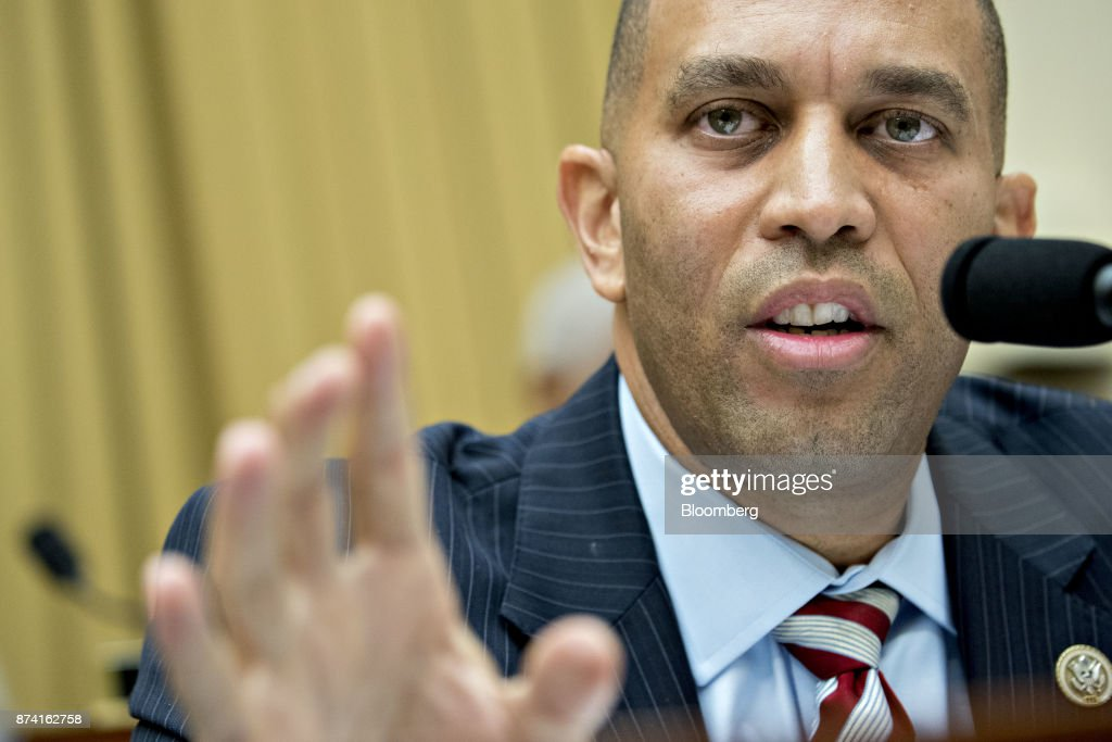 Representative Hakeem Jeffries, a Democrat from New York, questions Jeff Sessions, U.S. attorney general, not pictured, during a House Judiciary Committee hearing in Washington, D.C., U.S., on Tuesday, Nov. 14, 2017. Sessions denied he lied or misled Congress about contacts with Russia by people involved in Donald Trump's presidential campaign. Photographer: Andrew Harrer/Bloomberg via Getty Images