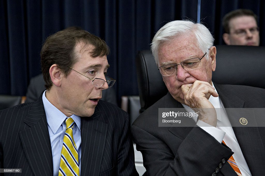 Representative Harold 'Hal' Rogers, a Republican from Kentucky and chairman of the House Appropriations Committee, right, speaks with counsel before the start of a House Appropriations Committee markup in Washington, D.C., U.S., on Tuesday, May 24, 2016. The committee was meeting on the markup of the FY2017 Commerce, Justice and Science bill and the FY 2017 Transportation, Housing and Urban Development Appropriations bill. Photographer: Andrew Harrer/Bloomberg via Getty Images