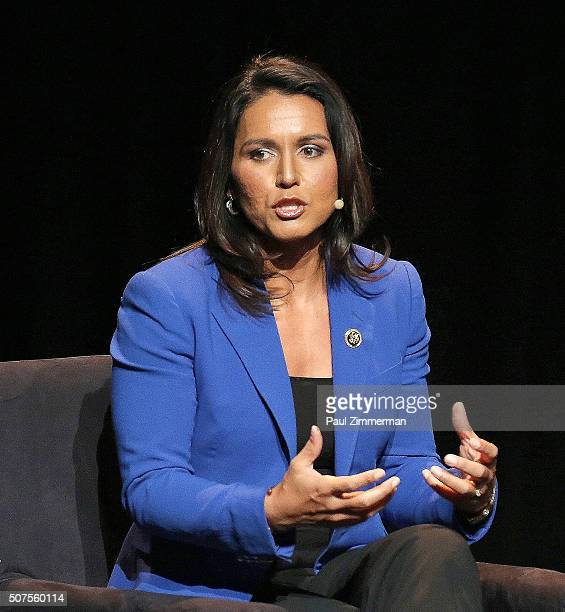 S Representative HI02 Tulsi Gabbard speaks at the 2016 'Tina Brown Live Media's American Justice Summit' at Gerald W Lynch Theatre on January 29 2016...