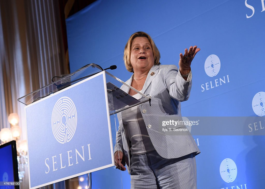 U.S. Representative, Ileana Ros-Lehtinen speaks during Seleni Institute's First Annual Winnifred Mason Huck Leadership Awards at Cannon Caucus Room on June 11, 2015 in Washington, DC.