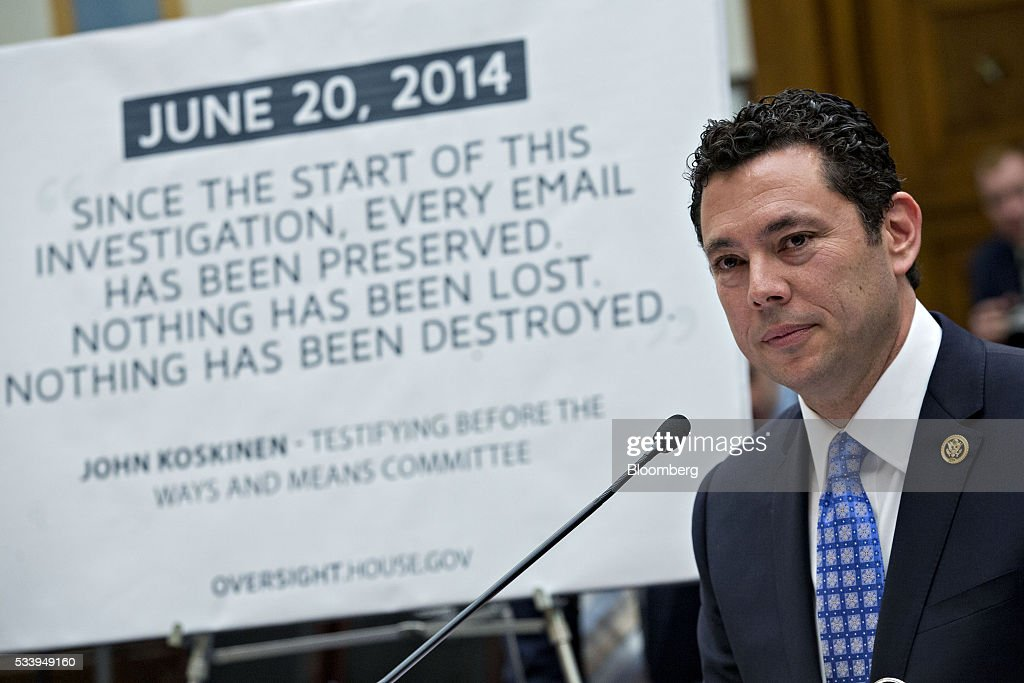 Representative <a gi-track='captionPersonalityLinkClicked' href=/galleries/search?phrase=Jason+Chaffetz&family=editorial&specificpeople=5610304 ng-click='$event.stopPropagation()'>Jason Chaffetz</a>, a Republican from Utah and chairman of the House Oversight and Government Reform Committee, listens during a House Judiciary Committee hearing with a quote by International Revenue Service (IRS) Commissioner John Koskinen in the background in Washington, D.C., U.S., on Tuesday, May 24, 2016. The hearing is part of some Republican lawmakers' push to impeach Koskinen for allegedly failing to cooperate with an investigation after the IRS reportedly targeted conservative groups applying for tax-exempt status