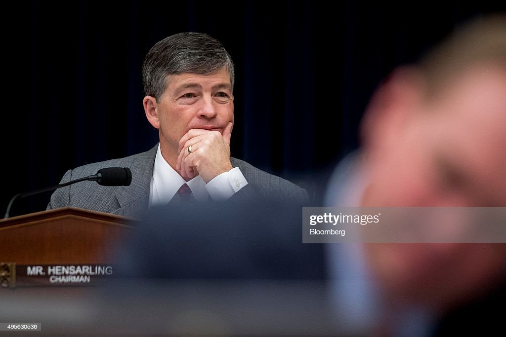 Representative <a gi-track='captionPersonalityLinkClicked' href=/galleries/search?phrase=Jeb+Hensarling&family=editorial&specificpeople=4367462 ng-click='$event.stopPropagation()'>Jeb Hensarling</a>, a Republican from Texas and chairman of the House Financial Services Committee, listen as Janet Yellen, chair of the U.S. Federal Reserve, not pictured, testifies during a hearing in Washington, D.C., U.S., on Wednesday, Nov. 4, 2015. Yellen and her top two lieutenants, all speaking publicly Wednesday, have a chance to drive home a united message about their readiness to raise interest rates in December if the labor market continues to show modest improvement. Photographer: Andrew Harrer/Bloomberg via Getty Images