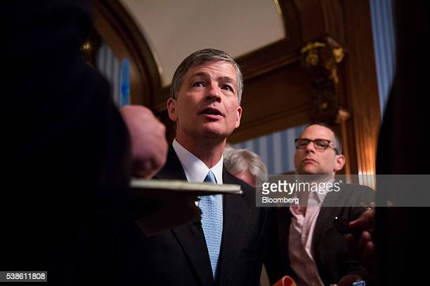 Representative Jeb Hensarling a Republican from Texas and chairman of the House Financial Services Committee speaks to members of the media after...