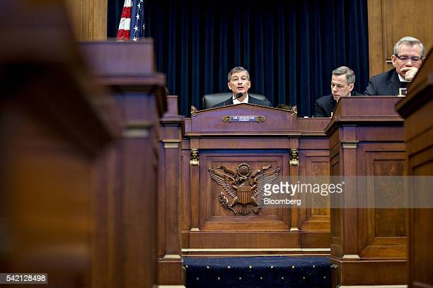 Representative Jeb Hensarling a Republican from Texas and chairman of the House Financial Services Committee makes an opening statement during a...