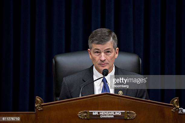 Representative Jeb Hensarling a Republican from Texas and chairman of the House Financial Services Committee waits to begin a hearing with John...