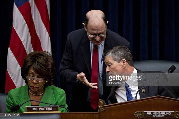 Representative Jeb Hensarling a Republican from Texas and chairman of the House Financial Services Committee right talks to Representative Brad...